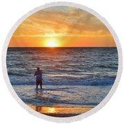 Shore Fishing At Sunrise   Round Beach Towel