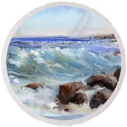 Shore Is Breathtaking Round Beach Towel