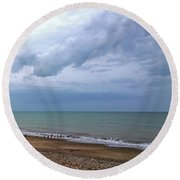 Round Beach Towel featuring the photograph Shoreham Shoreline by Anne Kotan