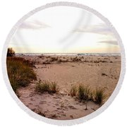 Round Beach Towel featuring the photograph Shoreline At Dusk by Michelle Calkins