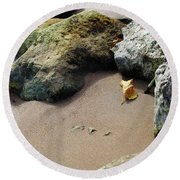 Shoreline In Autumn Round Beach Towel