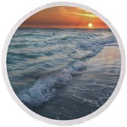 Shoreline Sunset Round Beach Towel