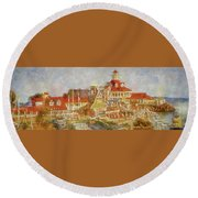Shoreline Village Round Beach Towel by Joseph Hollingsworth