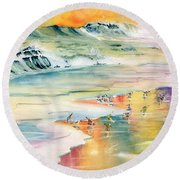 Shoreline Watercolor Round Beach Towel by Melly Terpening