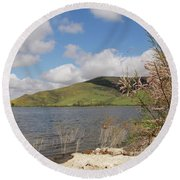 Shores Of Lake Skinner Round Beach Towel by Suzanne Oesterling