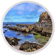 Shores Of Pacific Grove  Round Beach Towel by Gina Savage