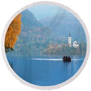 Round Beach Towel featuring the photograph Shorewards by Davor Zerjav