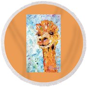 Shorn Alpaca. Where's My Fleece? Round Beach Towel