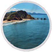 Short Beach, Oregon Round Beach Towel