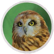 Short Eared Owl On Green Round Beach Towel by Dan Sproul