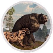 Short-faced Bear And Saber-toothed Cat Round Beach Towel