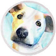 Short Hair White And Brown Dog Round Beach Towel