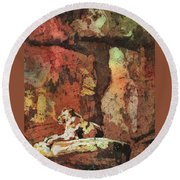 Round Beach Towel featuring the painting Short Reprieve by Ryan Fox