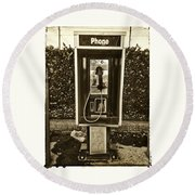 Short Stack Pay Phone Round Beach Towel