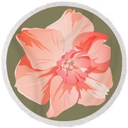 Short Trumpet Daffodil In Warm Pink Round Beach Towel