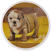 Flying Lamb Productions      Shortstop The English Bulldog Pup Round Beach Towel