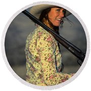 Shotgun Annie Western Art By Kaylyn Franks Round Beach Towel