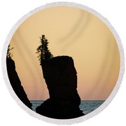 Round Beach Towel featuring the photograph Shovel Point On Lake Superior by Heidi Hermes