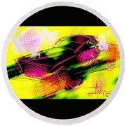 Round Beach Towel featuring the painting Show Car by Jim Vance