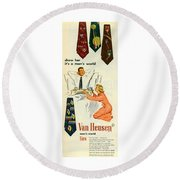 Show Her It's A Man's World Round Beach Towel