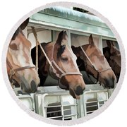 Show Horses On The Move  Round Beach Towel by Wilma Birdwell