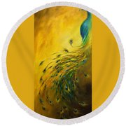 Show Off 1 Vertical Peacock Round Beach Towel