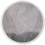 Round Beach Towel featuring the painting Shower In The Field by Becky Kim