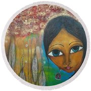 Round Beach Towel featuring the mixed media Shower Of Roses by Prerna Poojara