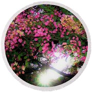 Shower Tree Flowers And Hawaii Sunset Round Beach Towel