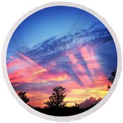 Showtime Sunset Round Beach Towel