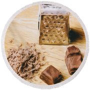 Shredded Chocolate Flakes Fine Art Drawing Round Beach Towel