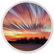 Shredded Sunset Round Beach Towel