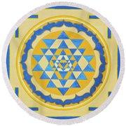 Shri Yantra For Meditation Painted Round Beach Towel
