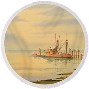 Round Beach Towel featuring the painting Shrimp Boat Sunset by Bill Holkham
