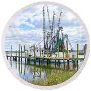 Shrimp Boats Of St. Helena Island Round Beach Towel