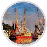 Shrimp Boats Shem Creek In Mt. Pleasant  South Carolina Sunset Round Beach Towel