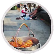 Round Beach Towel featuring the photograph Shrimping And Crabbing On The by Mr Photojimsf