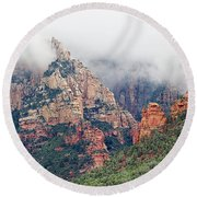 Round Beach Towel featuring the photograph Shrouded In Clouds by Phyllis Denton