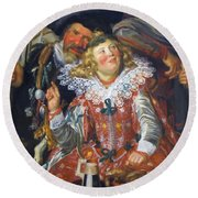 Shrovetide Revellers The Merry Company Round Beach Towel