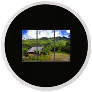 Round Beach Towel featuring the photograph Shuar Hut In The Amazon by Al Bourassa