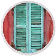 Old Barn Window - Shuttered Round Beach Towel