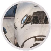 Shuttle Close Up Round Beach Towel by David Collins
