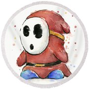 Shy Guy Watercolor Round Beach Towel