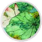 Shy Lotus Round Beach Towel