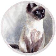 Siamese Kitten Portrait Round Beach Towel