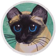 Round Beach Towel featuring the painting Siamese by Leslie Allen