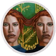 Siamese Twins 5 Round Beach Towel by Leah Saulnier The Painting Maniac