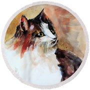 Siberian Forest Cat Round Beach Towel