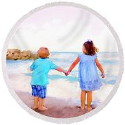 Sibling At Sunset Round Beach Towel