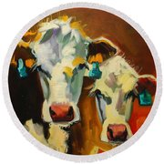 Sibling Cows Round Beach Towel
